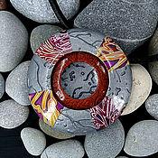 Украшения handmade. Livemaster - original item Pendant from polymer clay - Boho-UFO (silver, round, stylish). Handmade.