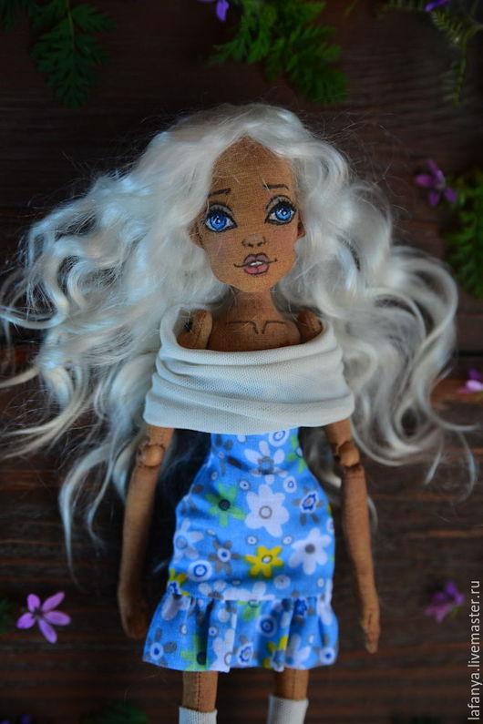 Коллекционные куклы ручной работы. Ярмарка Мастеров - ручная работа. Купить Шарнирная текстильная кукла. Handmade. Голубой, шарнирка, кукла