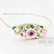 Украшения ручной работы. Ярмарка Мастеров - ручная работа Ободок с бело-фиолетовыми розами. Handmade.