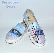 Обувь ручной работы. Ярмарка Мастеров - ручная работа Кожаные слипоны с росписью Венеция. Handmade.