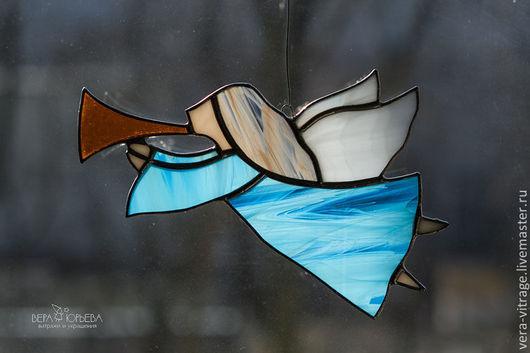 Элементы интерьера ручной работы. Ярмарка Мастеров - ручная работа. Купить Ангел летящий. Витраж.. Handmade. Ангел, голубой