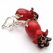 Украшения handmade. Livemaster - original item Earrings made of leather gramatici c pomegranate. Handmade.