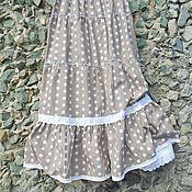 Одежда ручной работы. Ярмарка Мастеров - ручная работа Горохи - ярусная юбка из хлопка с кружевом.. Handmade.