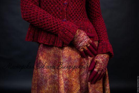 """Варежки, митенки, перчатки ручной работы. Ярмарка Мастеров - ручная работа. Купить Женские перчатки """"Золотая марсала"""". Handmade."""