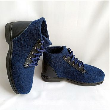 Footwear handmade. Livemaster - original item Boots men`s felted with a leather heel. Handmade.