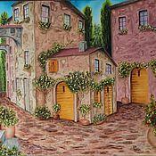 """Картины и панно ручной работы. Ярмарка Мастеров - ручная работа """"Южный дворик"""" Средиземноморье Картина маслом. Handmade."""