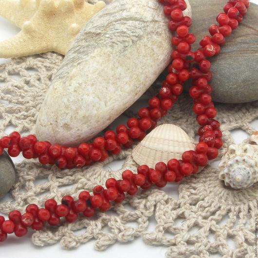 Для украшений ручной работы. Ярмарка Мастеров - ручная работа. Купить Коралл красный бусины гантеля - арт.9-05. Handmade.
