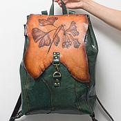 Сумки и аксессуары handmade. Livemaster - original item Backpack, genuine leather, Ginkgo backpack.. Handmade.