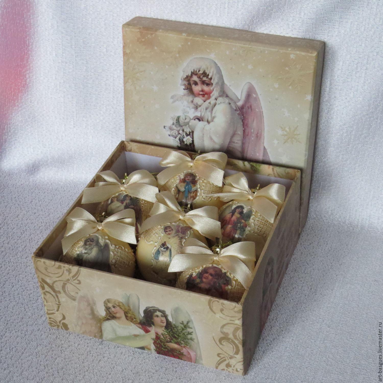 Набор ёлочных шаров  Рождественские ангелы, Елочные игрушки, Великие Луки,  Фото №1