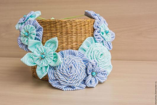 """Колье, бусы ручной работы. Ярмарка Мастеров - ручная работа. Купить Колье из ткани текстиля """"Лазурное побережье"""" голубое в полоску цветы. Handmade."""