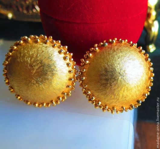 """Винтажные украшения. Ярмарка Мастеров - ручная работа. Купить Крупные, красивые клипсы Trifari """"Золотые круги"""" (США), винтаж. Handmade."""