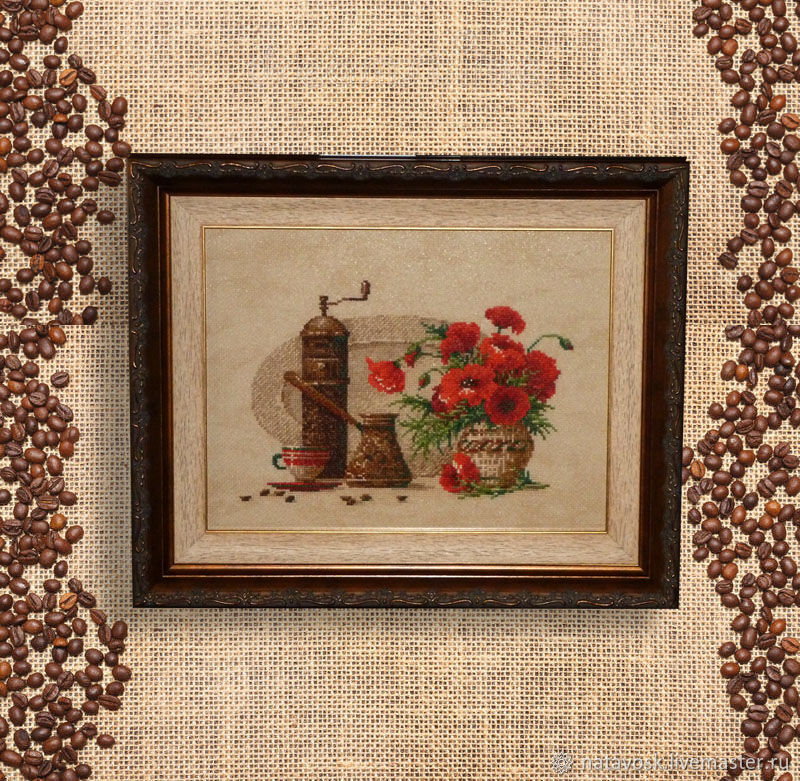 Cross stitch Coffee with poppies, Panels, Rostov-on-Don,  Фото №1