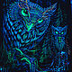 Psychedelic forest painting 'Mystic Owl'. Pictures. Fractalika. My Livemaster. Фото №6