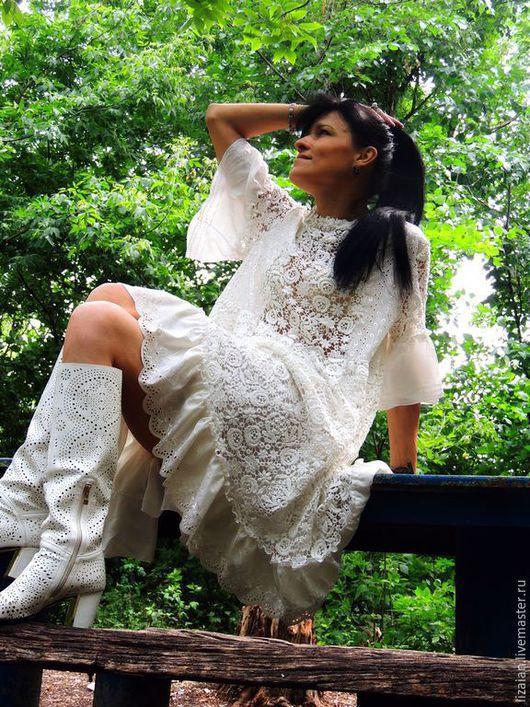Платья ручной работы. Ярмарка Мастеров - ручная работа. Купить Платье цвета экрю в стиле  Бохо (№1). Handmade. Белый
