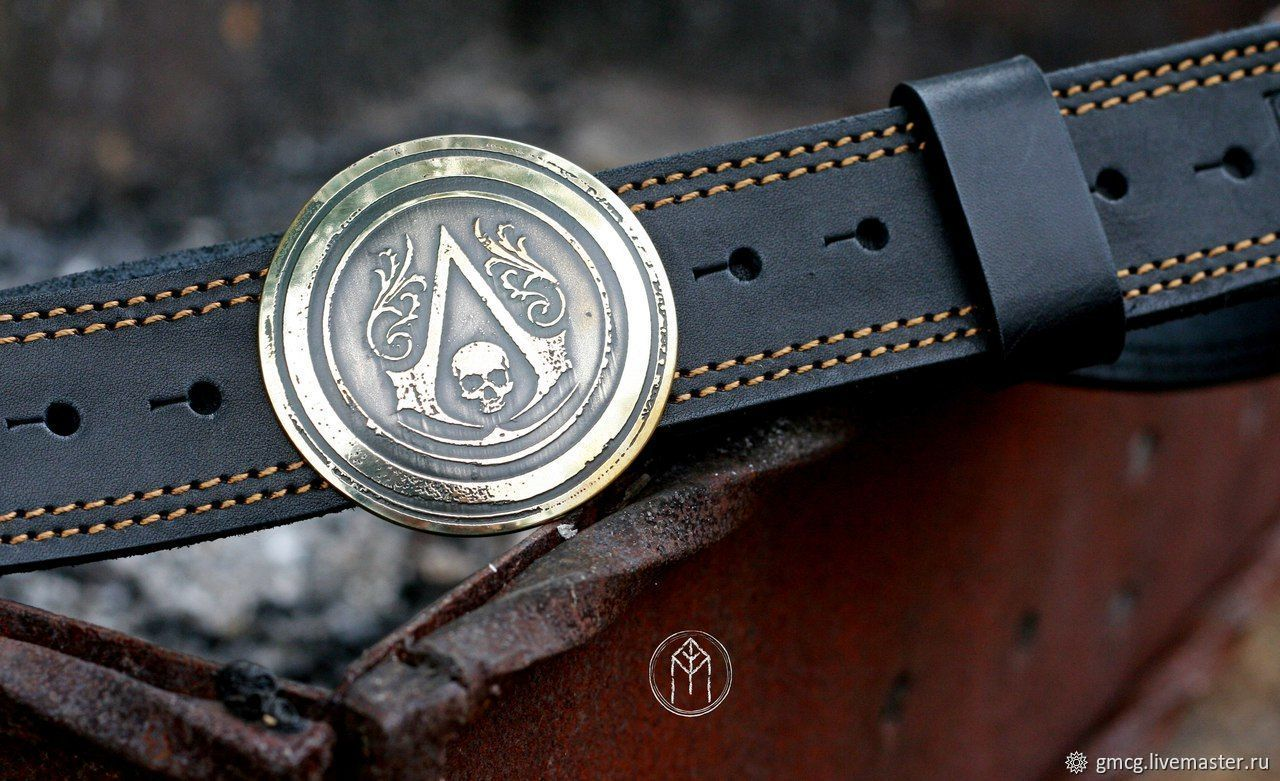 Leather belt with brass buckle 'Assassin's Creed', Straps, Tolyatti,  Фото №1