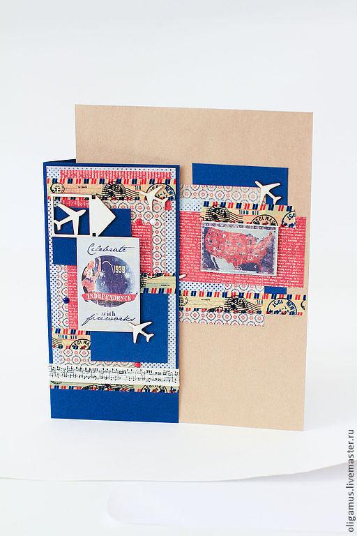 Открытки для мужчин, ручной работы. Ярмарка Мастеров - ручная работа. Купить Мужская открытка в пакете. Handmade. Открытка ручной работы
