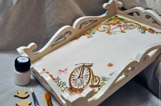 """Кухня ручной работы. Ярмарка Мастеров - ручная работа. Купить Поднос """"Велосипеды"""". Handmade. Белый, Декор, поднос, поднос декупаж"""
