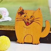 Украшения handmade. Livemaster - original item Brooch wooden Kitten will hunt you down. Handmade.