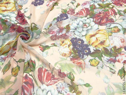 Шитье ручной работы. Ярмарка Мастеров - ручная работа. Купить Ткань шифон цветы розовый. Handmade. Ткань для рукоделия, ткани