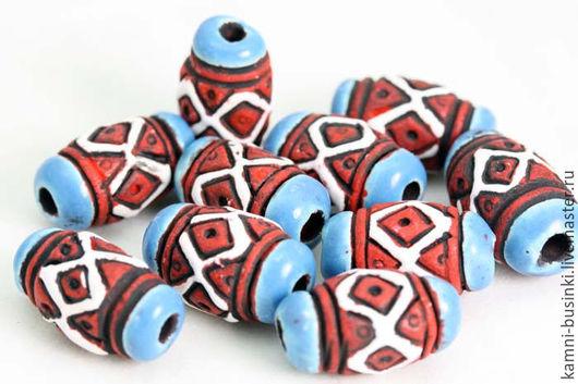 Для украшений ручной работы. Ярмарка Мастеров - ручная работа. Купить Керамические Этно бусины из Перу резные бочонки. Handmade.