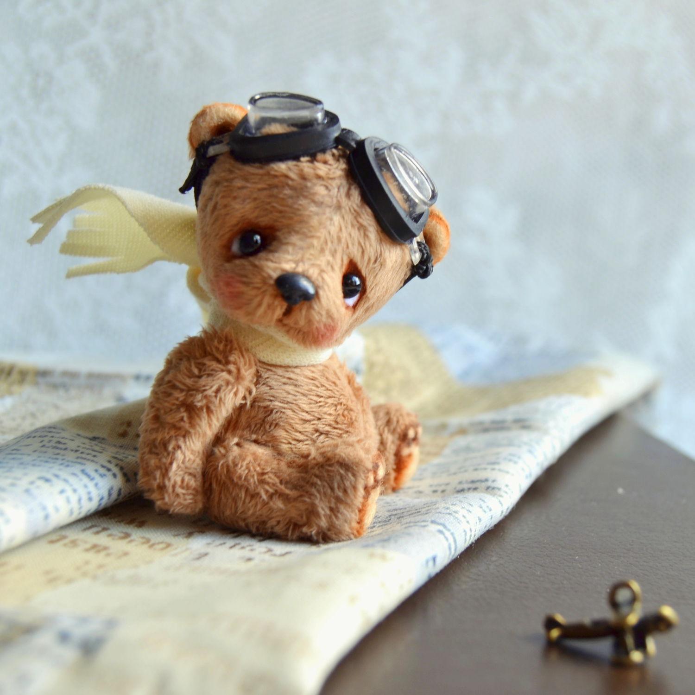 Мишки Тедди ручной работы. Ярмарка Мастеров - ручная работа. Купить Алёшка (6 см). Handmade. Нежность, самолет, детство