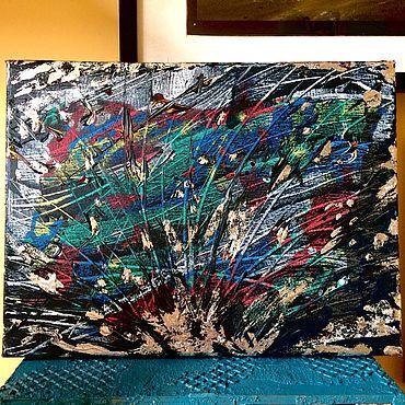 Картины и панно ручной работы. Ярмарка Мастеров - ручная работа Картина интерьерная с серебряной поталью. Handmade.