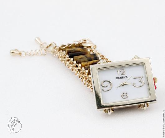 Мирабель-бижутерия. Часы на браслете с тигровым глазом, женские, наручные, коричневые, золотые под золото, фото. Купить часы в Москве. Mirabelle. Handmade. Wrist watches for women gold color