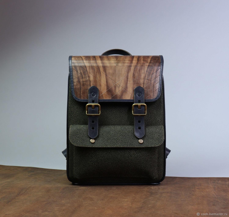 Рюкзаки ручной работы. Ярмарка Мастеров - ручная работа. Купить Кожаный рюкзак с клапаном из дерева 'CARA Man'. Handmade. Рюкзак