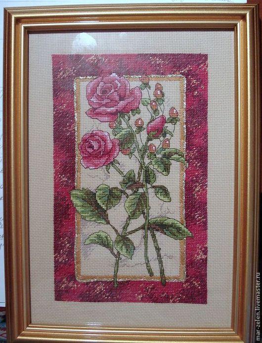 Картины цветов ручной работы. Ярмарка Мастеров - ручная работа. Купить Роза (ручная вышивка). Handmade. Роза, Вышивка крестом