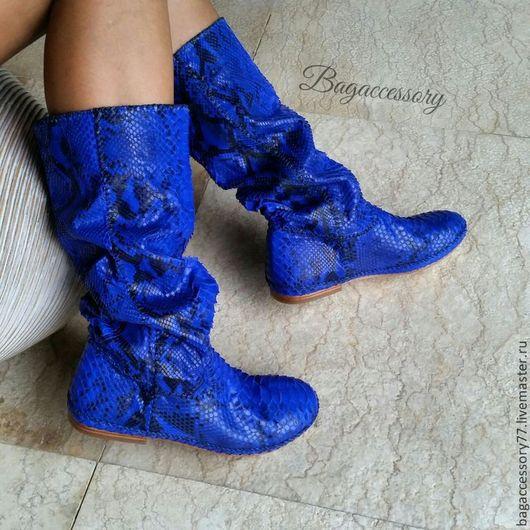 Обувь ручной работы. Ярмарка Мастеров - ручная работа. Купить Сапоги из натуральной кожи питона. Handmade. Тёмно-синий