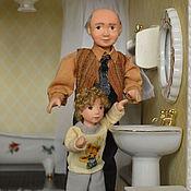 Куклы и игрушки ручной работы. Ярмарка Мастеров - ручная работа Кукла миниатюрная  подвижная Дедушка. Handmade.