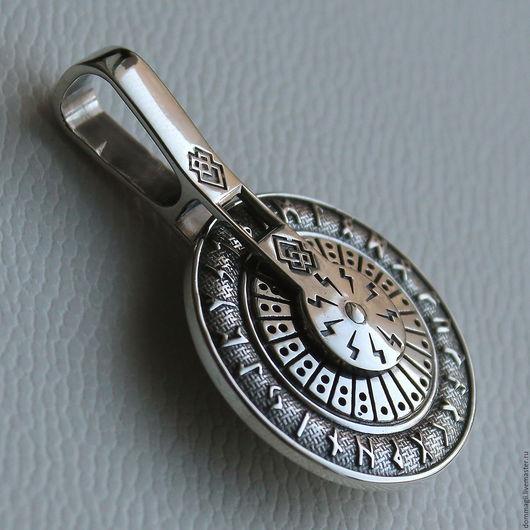 Обереги, талисманы, амулеты ручной работы. Ярмарка Мастеров - ручная работа. Купить Рунический круг колесо. Handmade. Серебряный
