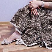 Одежда ручной работы. Ярмарка Мастеров - ручная работа Юбка из хлопка Шоколадный бархат. Handmade.