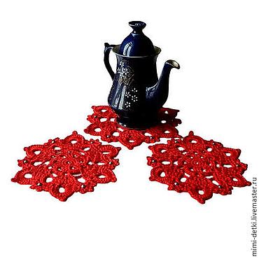 Для дома и интерьера ручной работы. Ярмарка Мастеров - ручная работа Подставки под горячее, под кружки, под чайник, красный. Handmade.