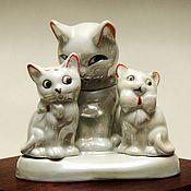 """Винтаж ручной работы. Ярмарка Мастеров - ручная работа Винтажный фарфоровый перламутровый набор для специй """"Кошки"""". Handmade."""