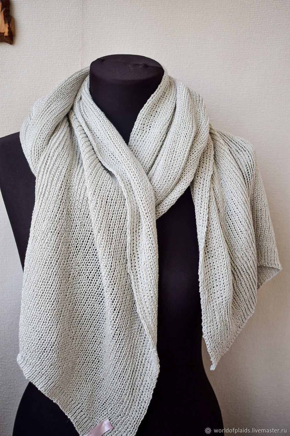Knitted scarf 'Modest charm' cotton, Scarves, Zhukovsky,  Фото №1