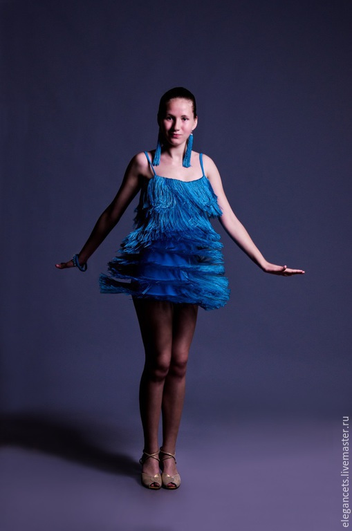 """Танцевальные костюмы ручной работы. Ярмарка Мастеров - ручная работа. Купить Платье для бальных танцев (латина) """"Blue Rain"""". Handmade."""