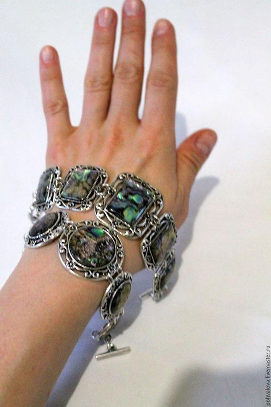 Браслеты ручной работы. Ярмарка Мастеров - ручная работа. Купить Винтажный браслет из натурального перламутра Пауа - гелиотис. Handmade. галиотис