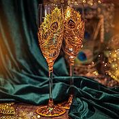 Посуда ручной работы. Ярмарка Мастеров - ручная работа Бокалы шампанские - Перо павлина. Handmade.
