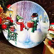 Подарки к праздникам ручной работы. Ярмарка Мастеров - ручная работа Тарелка настенная Рождественское признание). Handmade.