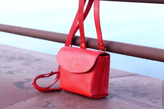 Женские сумки ручной работы. Ярмарка Мастеров - ручная работа. Купить Мини красная. Handmade. Ярко-красный, натуральная кожа