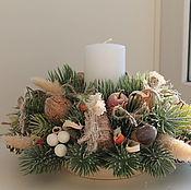 Цветы и флористика ручной работы. Ярмарка Мастеров - ручная работа новогодний подсвечник в эко стиле. Handmade.