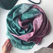 Аксессуары handmade. Livemaster - original item Scarf felted emerald-Burgundy. Handmade.