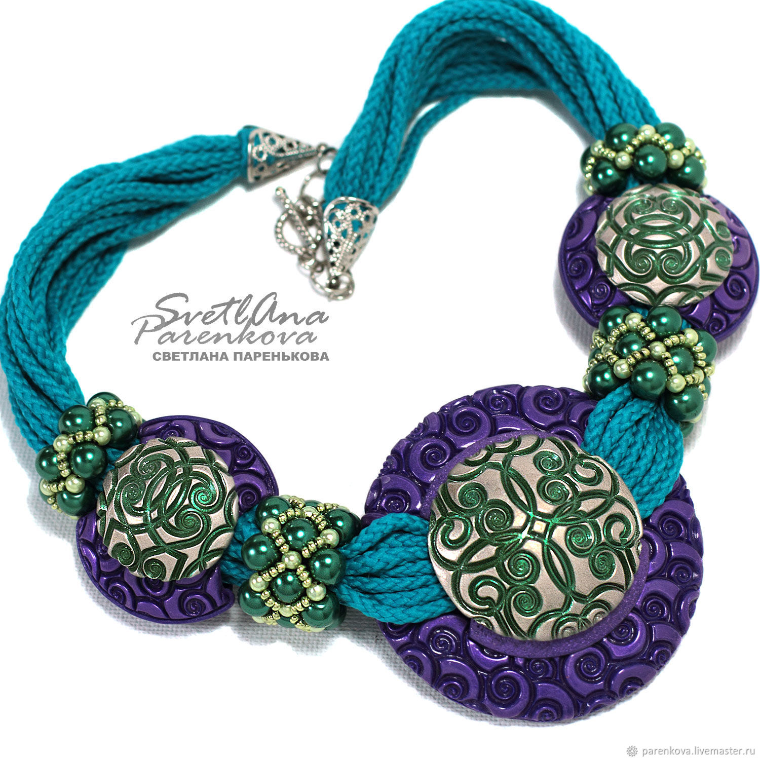 Necklace of polymer clay purple green turquoise mix (546) (331), Necklace, Salavat,  Фото №1
