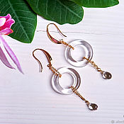 Украшения handmade. Livemaster - original item Transparent earrings vanguard gold Czech glass. Handmade.
