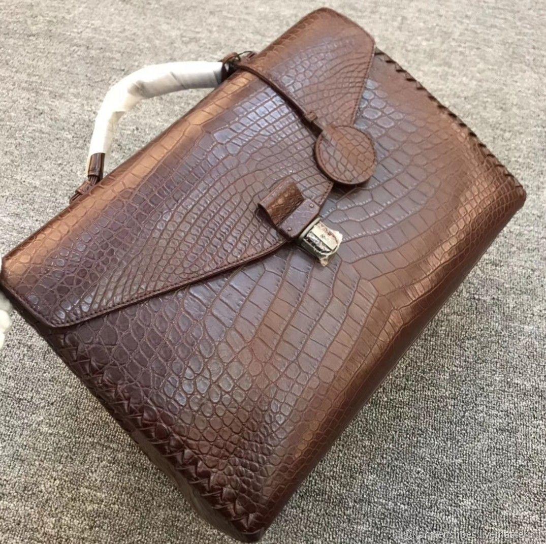Briefcase men's classic, crocodile leather, in brown, Brief case, Tosno,  Фото №1