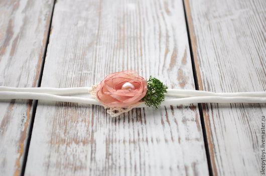 Для новорожденных, ручной работы. Ярмарка Мастеров - ручная работа. Купить Повязка на голову для фотосессии новорожденных розовый, серый, бежевый. Handmade.
