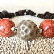 Украшения handmade. Livemaster - original item The Necklace Was Given. Silver Karen hill, wood, ebony, and Robles, coral. Handmade.