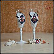 """Свадебный салон ручной работы. Ярмарка Мастеров - ручная работа Свадебные бокалы в морском стиле """"TITANIC"""". Handmade."""