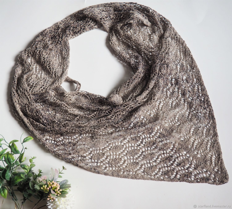 Openwork knitted kerchief beige-brown cotton kerchief, Caps, Cheboksary,  Фото №1